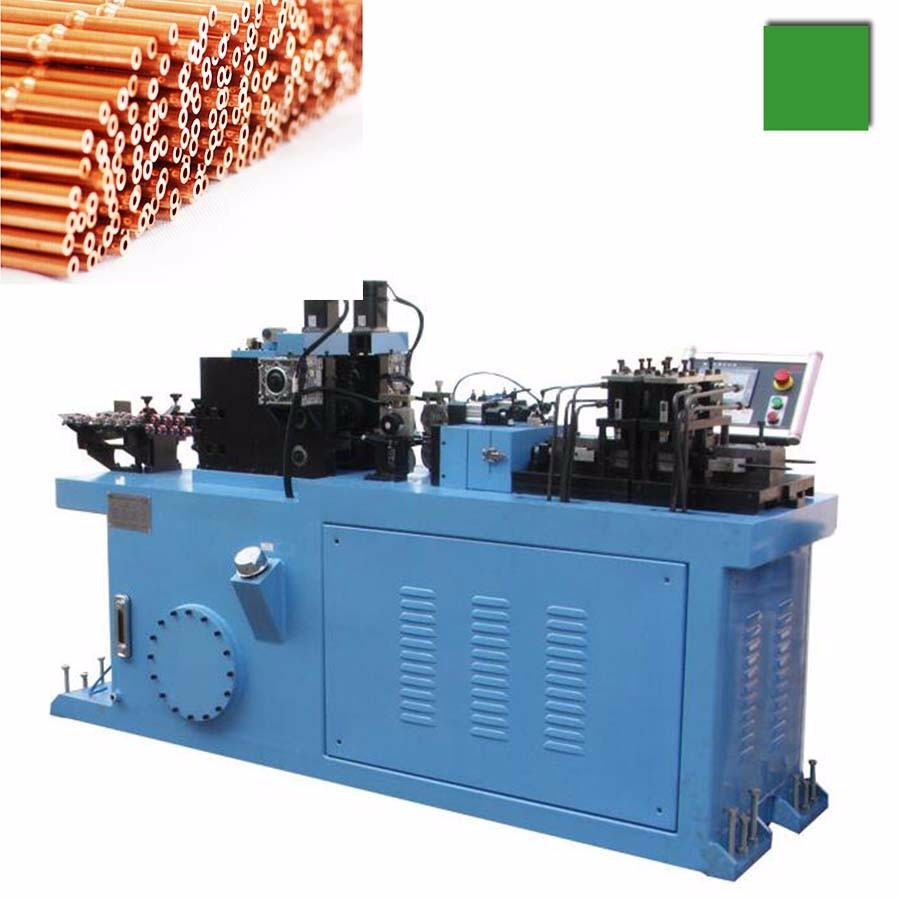 Copper capillary tube cut to length machine with end swaging and beading.