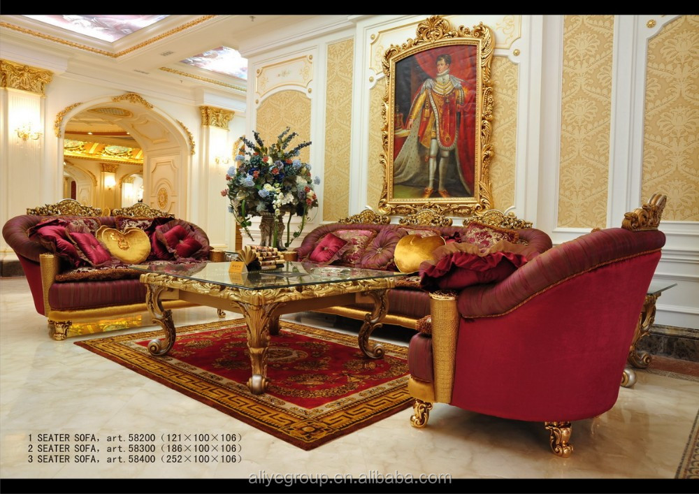 Art1101 Luxury French Baroque Style Golden Living Room Sofa Set Clic Royal Fabric Palace Furniture