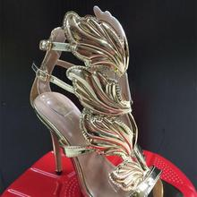 BAYUXSHU Summer Women High Heels Gold Winged Leaves Cut-outs Stiletto  Gladiator Sandals Flame Party c4161968eefe