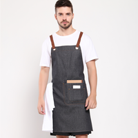 Denim chef or cafe bib apron denim