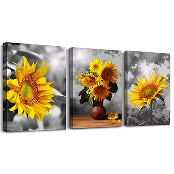 3 Piece Bedroom Canvas Prints Artwork Wall Decor Black and White Sunflower Canvas Art van gogh painting