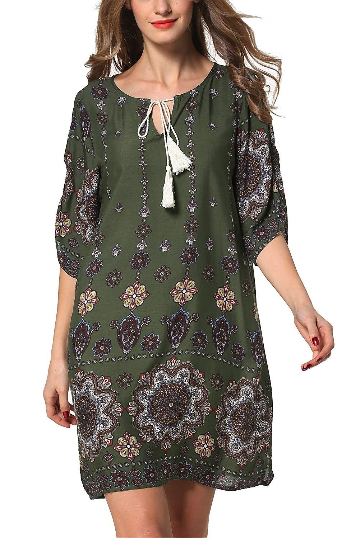 ARANEE Women's Bohemian Vintage Printed Loose Casual Boho Tunic Dress