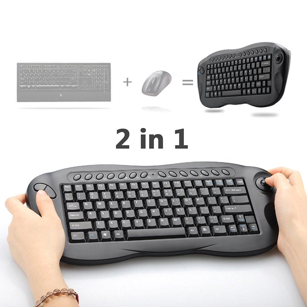 dabfe16d57f Wireless Trackball Keyboard, Oley 2.4 GHz 2in1 Wireless Mouse Keyboard  Computer TV Box Remote Control