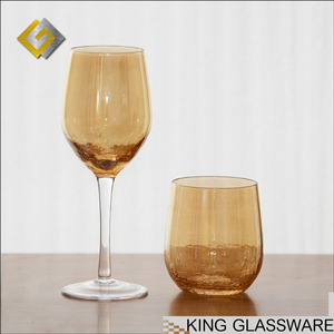 Handmade wholesale unique crackled pearly lustre laser decorated wine glasses wholesale