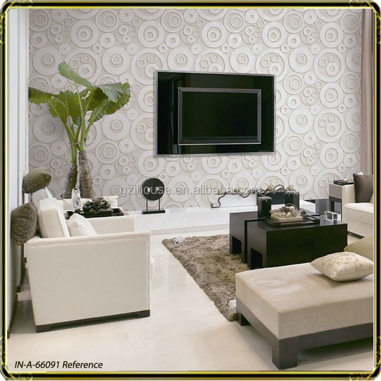 Morden cercle conception 3d con oit pour tv soutenu mur vinyle pvc salon murs papier peint for Conception salon 3d