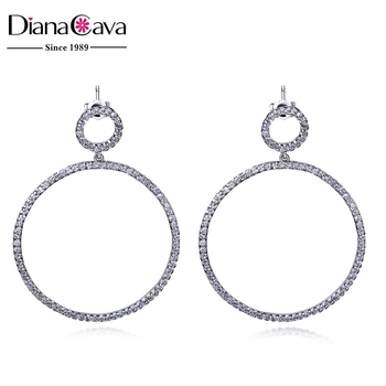 Less Is More Simple Outline Jewelry Geometric Design Round Cz Fine Quality Fancy Earrings