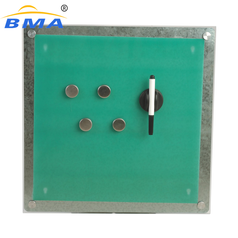 Whole sell green glass eraser board magnetic acrylic notice board