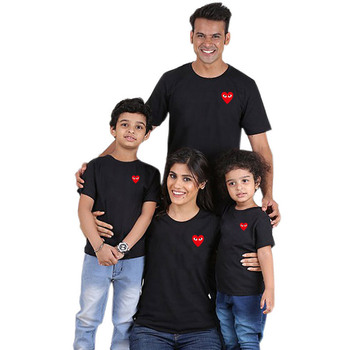 Fashion matching family clothes t shirts for couples and kids