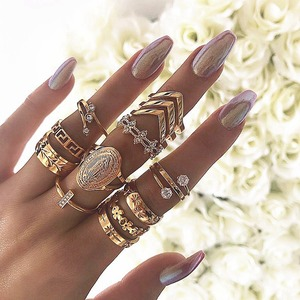 13pc/set Bohemia Virgin Mary Cross Star Flower Leaves Ring 2019 New Crystal Gold Ring Set Women Vintage Jewelry Gifts