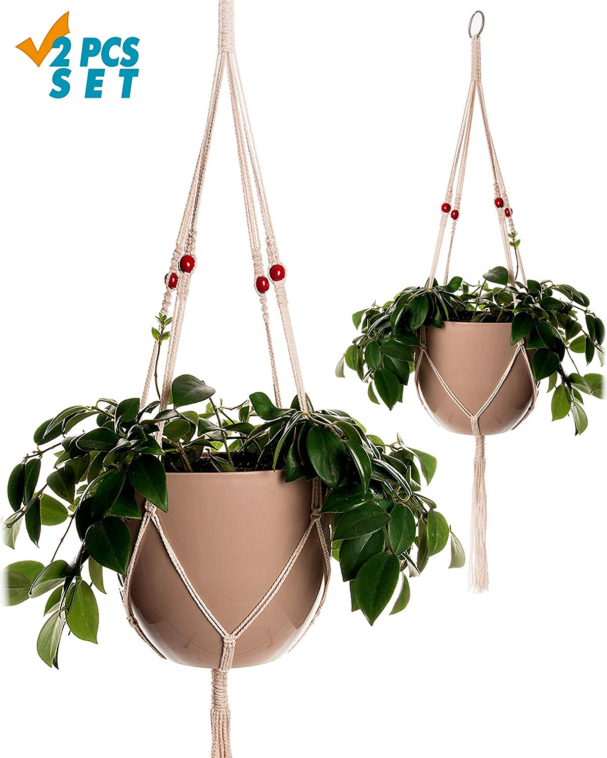 Plant Hanger Macrame 38in Pure Cotton Rope with Red Wooden Beads Indoor Outdoor Decoration Handmade Hanging Planter Basket Round & Square Flower Herbs Pots (no Pots no Plants) 4 Legs, 2 Pack