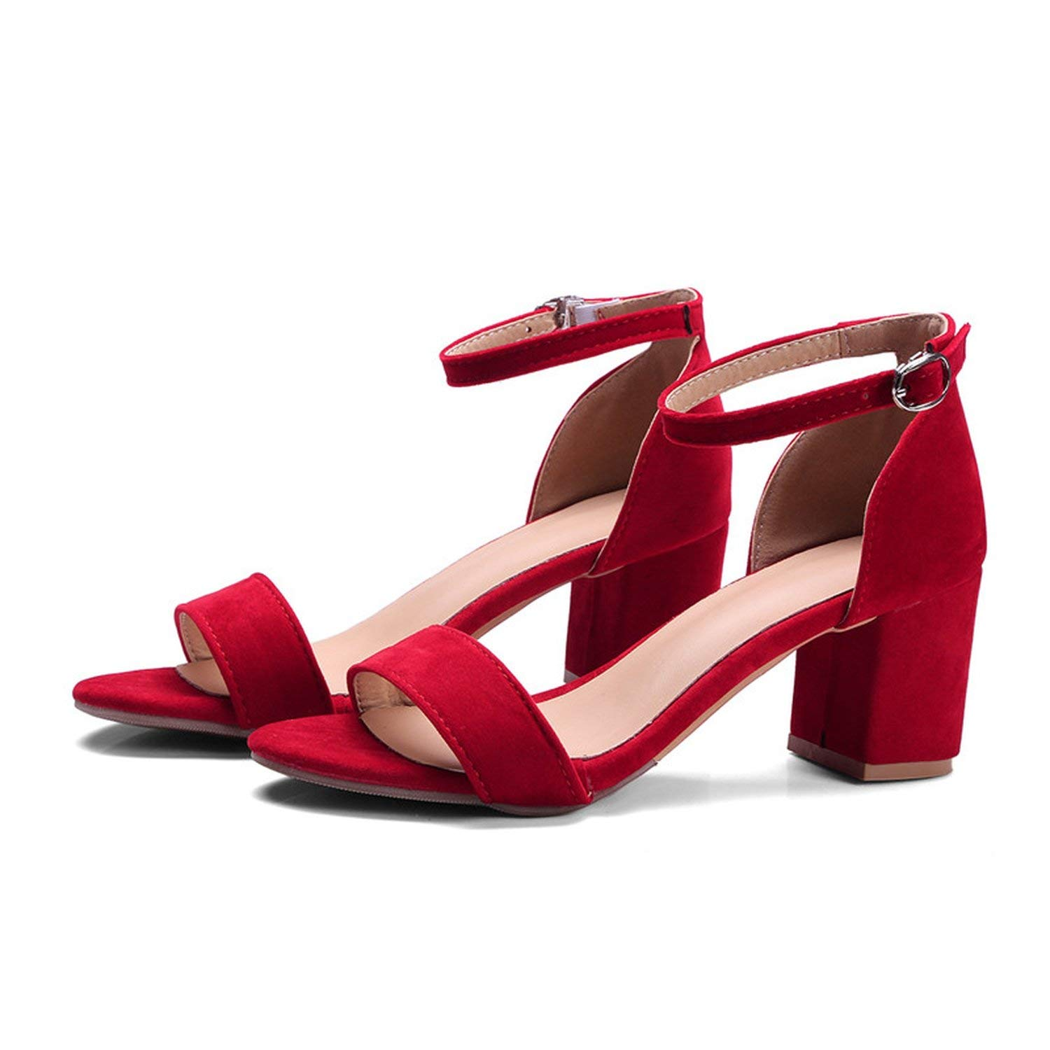 New-Loft Flock high Square Heels Shoes Solid Buckle Women Shoes Sandals Fashion Sexy Large Size 34-45
