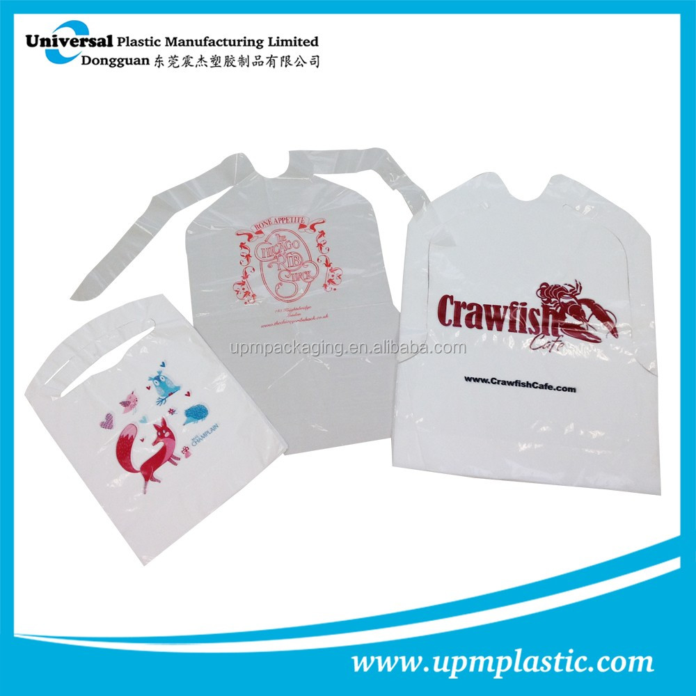 Disposable restaurant single-use plastic apron bibs for adults