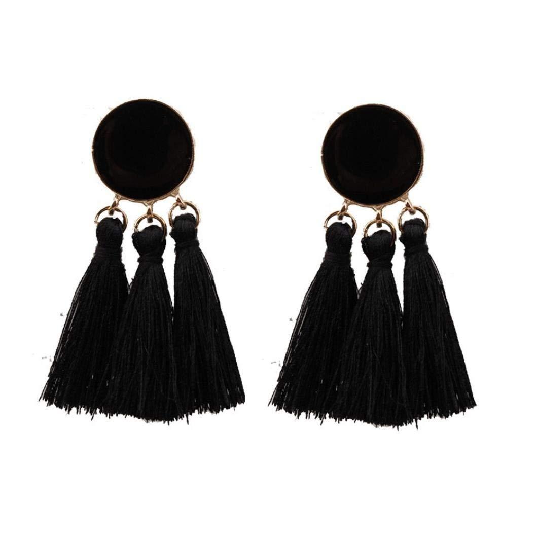 Gyoume Women Tassel Earrings Bohemian Earrings Lady Girls Long Tassel Fringe Boho Dangle Earrings Jewelry Party Ornaments