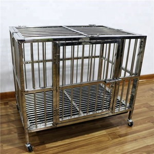 Strong foldable stainless steel dog cage , custom collapsible modular welded dog cage with wheels