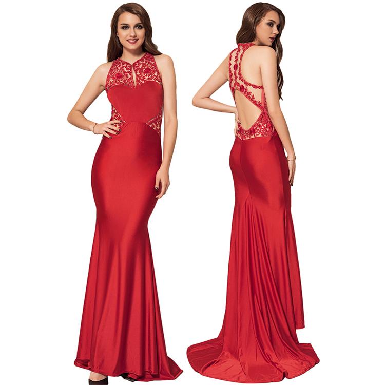 最新の中国スタイル赤花ガールズロングフォーマルイブニングドレス