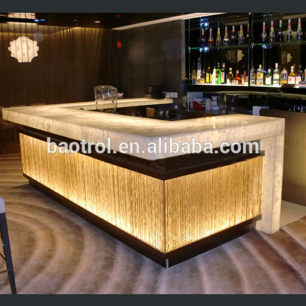 restaurant moderne comptoir de bar design led lumineux. Black Bedroom Furniture Sets. Home Design Ideas