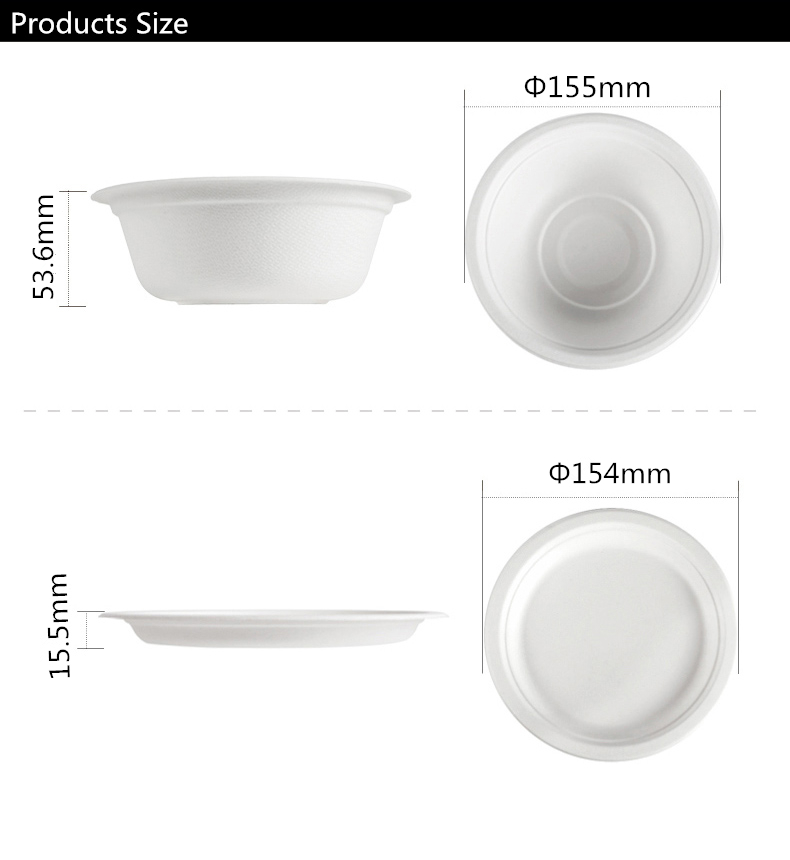 Sugarcane Bowls Disposable Biodegradable soup bowl