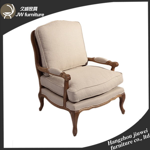 Antique Reproduction Upholstered French Armchair,linen Fabric Chair, Armchair  French Style