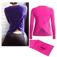 YBTS063 Fashion Design Long Sleeve Gym T Shirt For Women