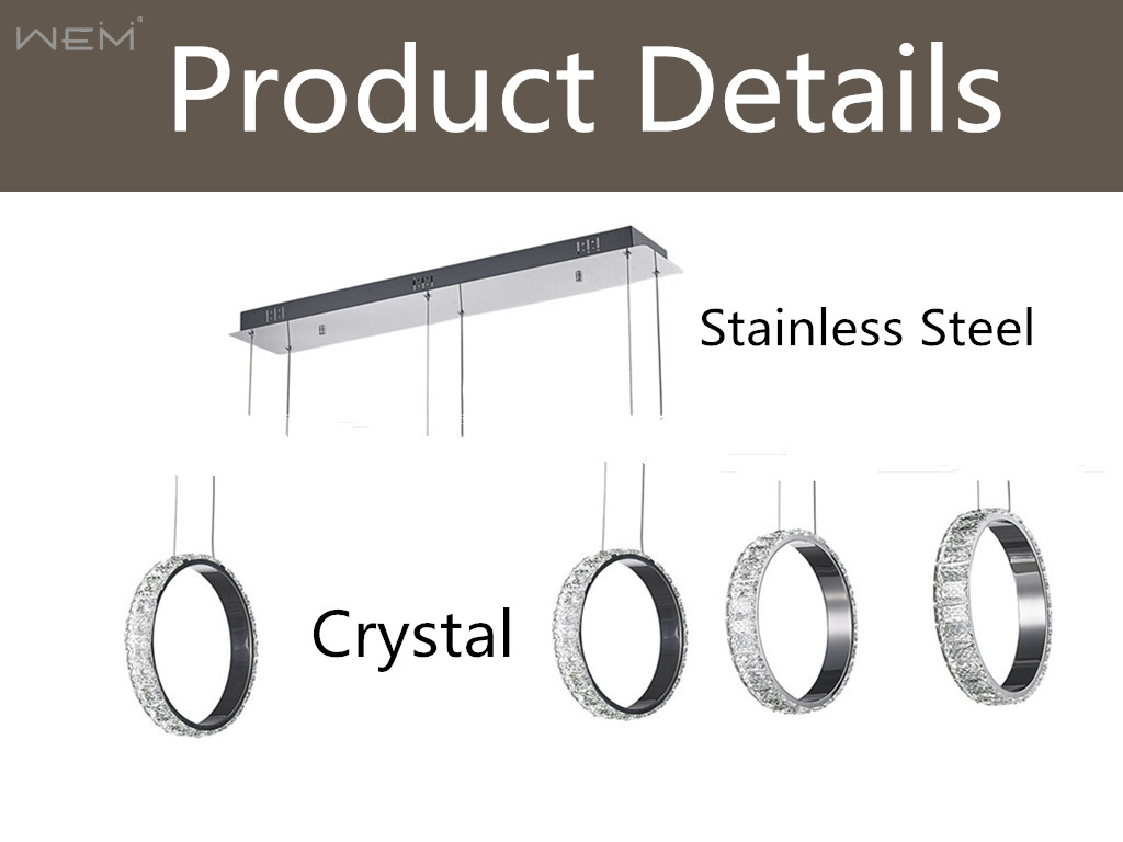 New Product Unique Stainless Steel 3 Rings Crystal LED Pendant Light Crystal Modern Luxury Crystal Chandeliers