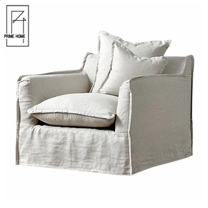 French Style Linen Fabric Slipcover Off White Round Sofa Chair,Wood And Fabric Chairs,Single Sofa Chair