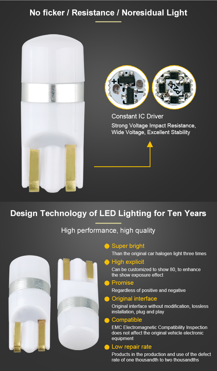 New design high brightness T10 1 SMD 3030 led t10 w5w Width Lamp