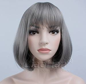 Liaohan® Fashion Grey Short Wig Cosplay Wig Short Hair Bob Wig Synthetic Wigs for Women