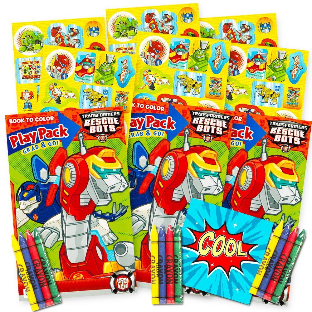 Transformers Rescue Bots Ultimate Party Favors Packs -- 3 Sets with Stickers, Coloring Books and Crayons (Bonus Licensed Sticker)