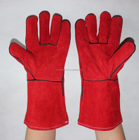 Split Cowhide work welding industry safety long leather work gloves
