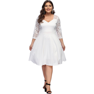 Best Sale High Waisted Super Soft Formal Women White Lace Dress