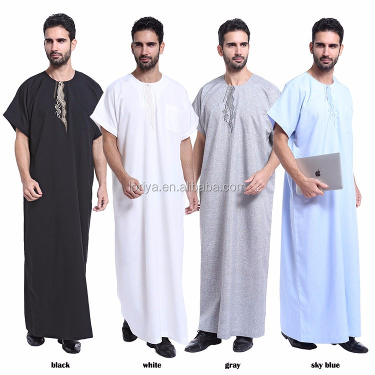 Wholesale Short sleeves Men Thobe Abaya Robe Jubah Men's Daffah Dishdasha Abaya Islamic Arab Kaftan
