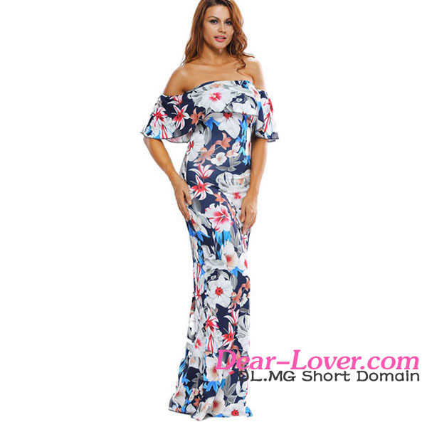 New Design Floral Print Off-the-shoulder Maxi Dresses from Thailand