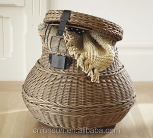 Jonsun handwoven rattan wicker with bronze metal buckle outdoor storage