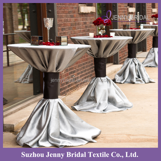 TC165A 108 Round Silver Grey Stretch Satin Linen Tablecloth Round