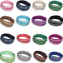 Hot Sale Korean Fashion PU Leather Multi-layer Rhinestone Crystal Wrap Bracelet For Women & Men Jewelry Bangles Gift