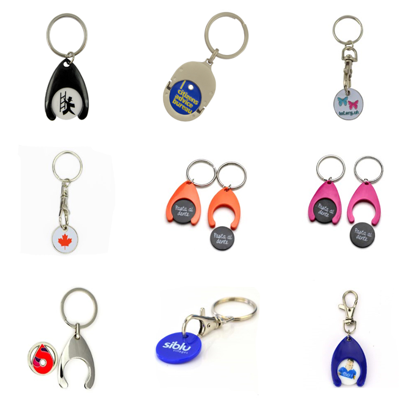 Customized design 2d metal keychain shopping cart token coin