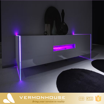 Vermont Living Room Furniture Wood Led TV Cabinet Wall Unit Design