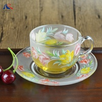 USA Popular Style Coffee Cup Saucer Set 200ML Rose Design Frosted Tea Cup and Saucer