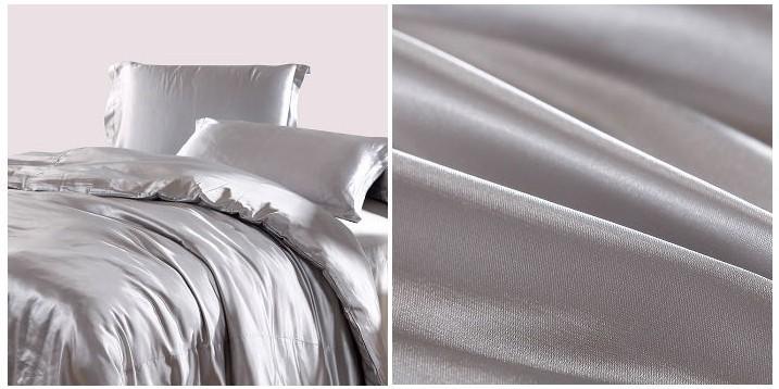 Wholesale Silver Satin Silk Grey Bedding Set California