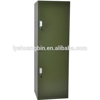 Powder Coated Steel Storage Lockers / 2 Door Wardrobe Cabinet Steel Locker