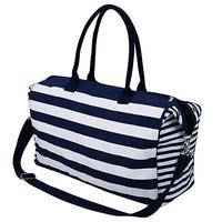XL Canvas Cross-body Bags, 19.6*13.7*7.5 inches Travel Tote Top-Handles Bag, Blue Stripes