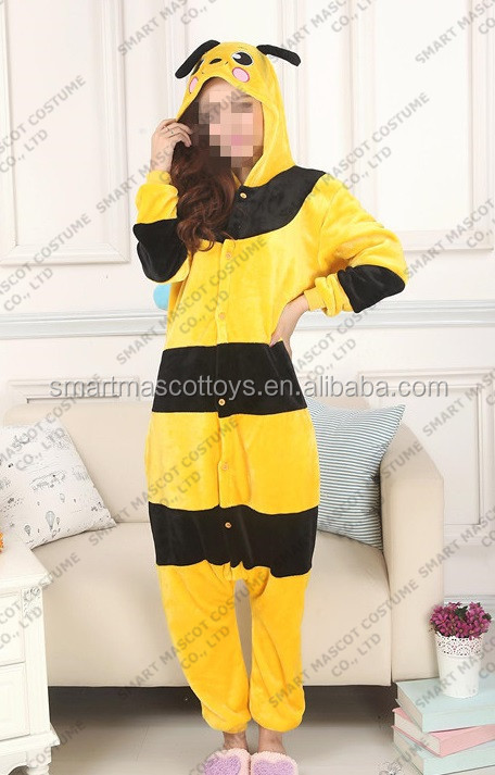 wholesale flannel yellow bee animal pajamas costumes custom adult onesie