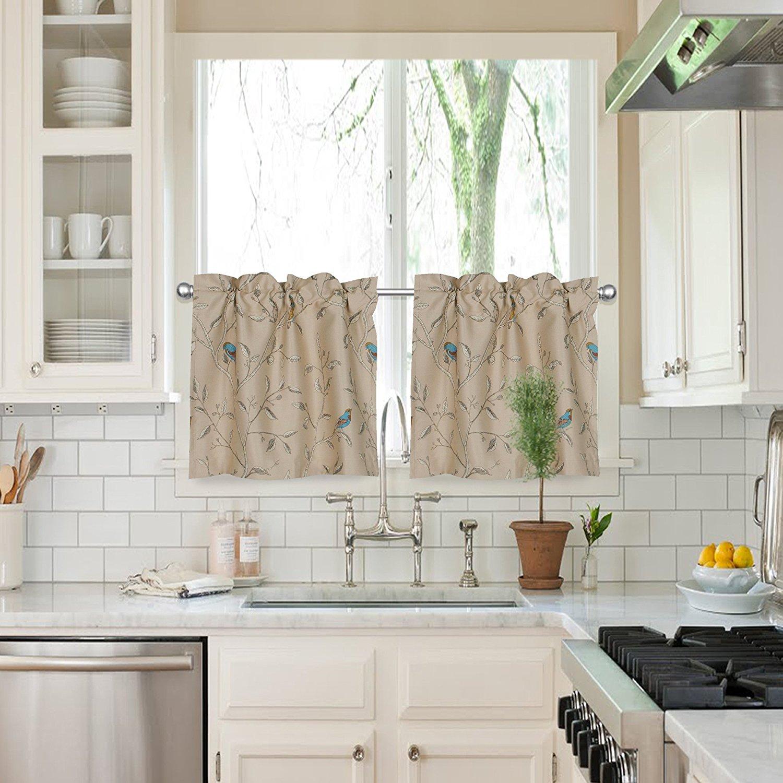 Flamingo P 2 Piece Kitchen Curtain Set : 2 Tiers (W29XH36) , Rod Pocket , Gray Birds