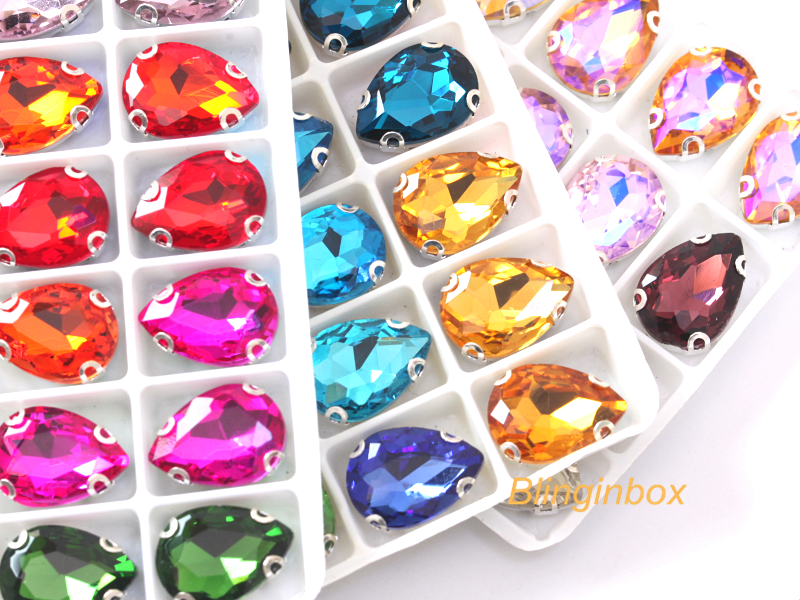 Fancy shape wholesale all color available glass sew on jewel with metal setting for dress