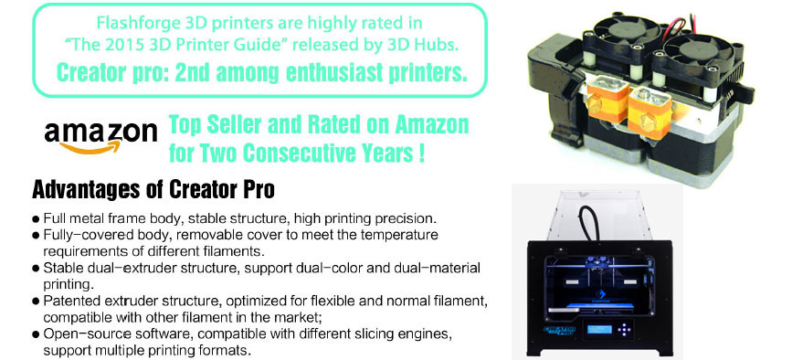 No 1 Sale Flashforge Creator Pro 3 D Printer With Dual Extruder,With Full  Metal Frame Body,High Printing Precision - Buy 3 D Printer,Dual Extruder 3d
