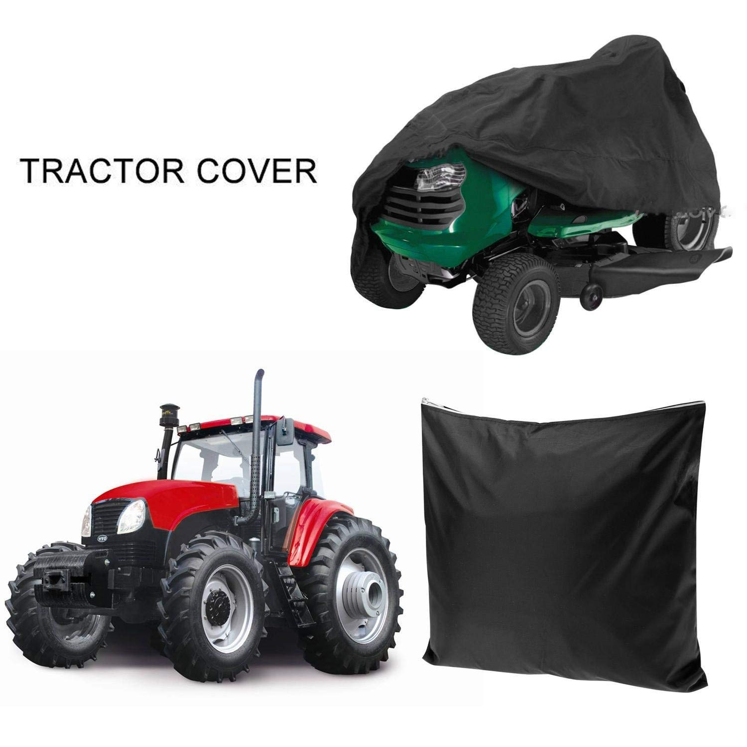 Leoneva Black 54-Inch Waterproof Tractor Cover, Riding Lawn Mower Cover for Garden Yard (Black)