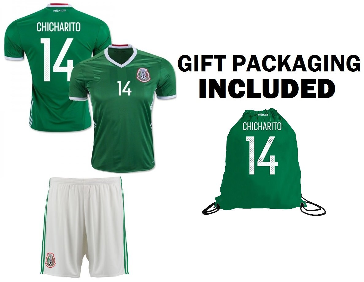 d6e8d8cb51c Get Quotations · Mexico Youth Jersey Chicharito #14 Kids Home Jersey +  Shorts + Chicharito #14 Drawstring