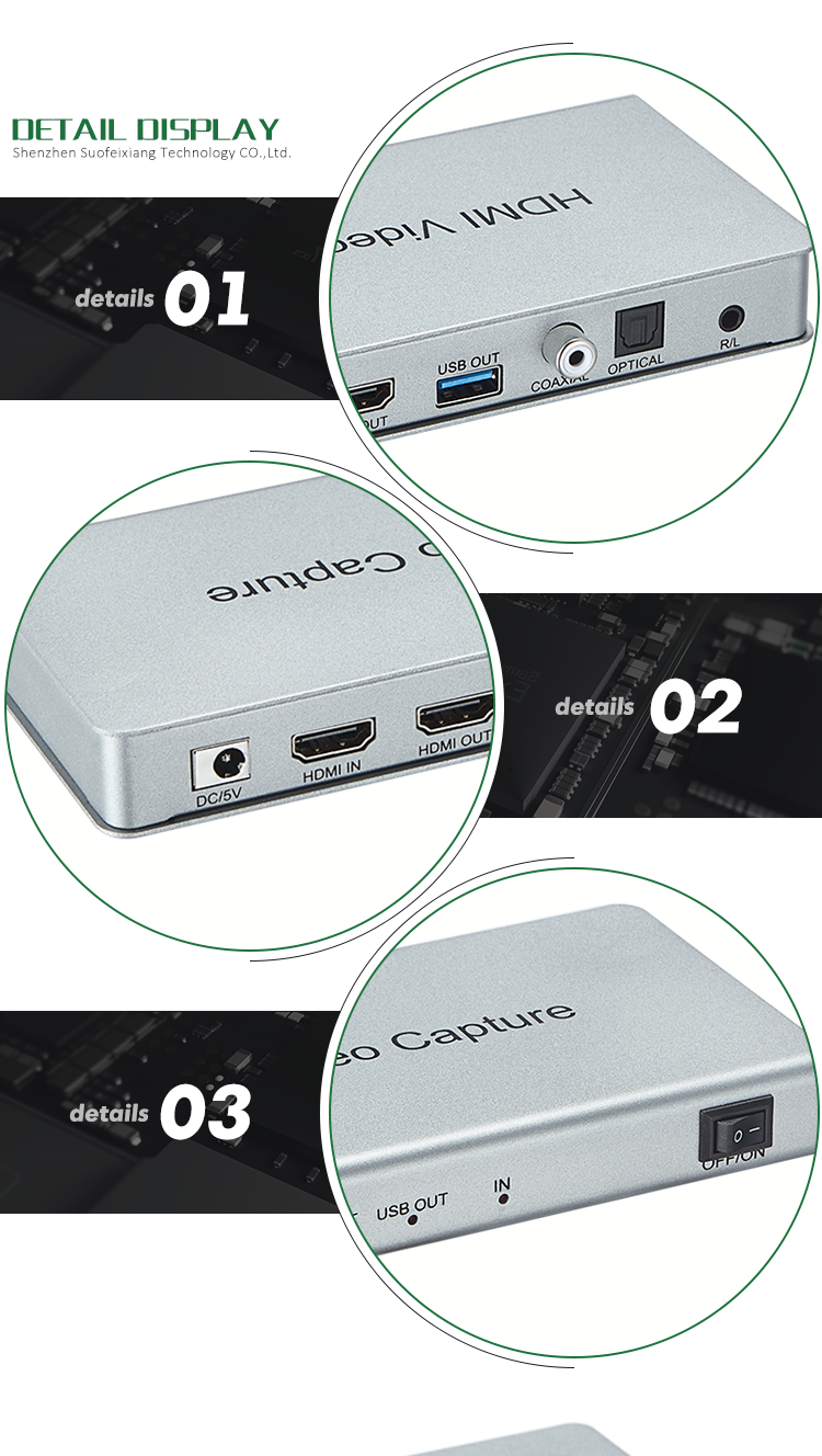 1080p Game Live Broadcast UVC HDMI to USB 3.0 Video Capture with Loop Support PC Camera