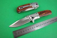 High quality OEM DA51 quick opening folding knife(wood handle) pocket knife hunting knife UD401948