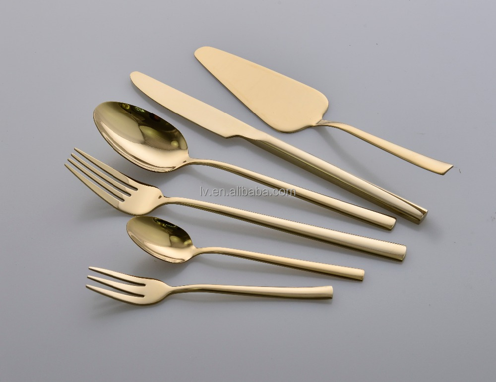Modern Design Stainless Steel Gold Cutlery Set with Titanium Coating
